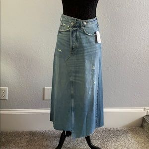 Reworked Midi Jean Skirt